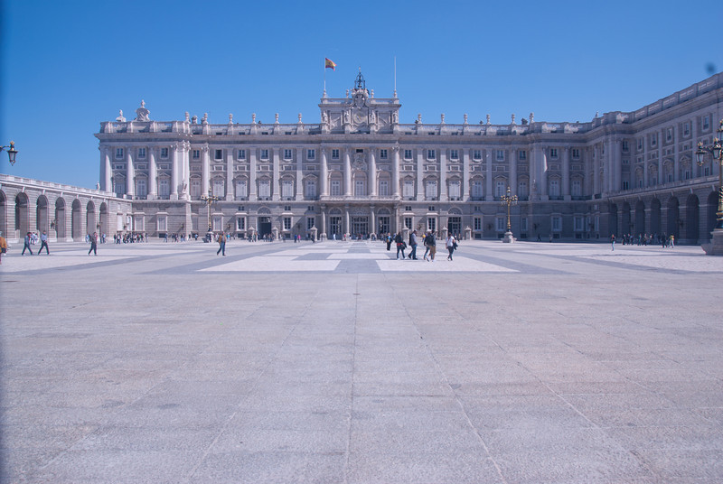 The courtyard fronting the Royal Palace of Madrid in Spain