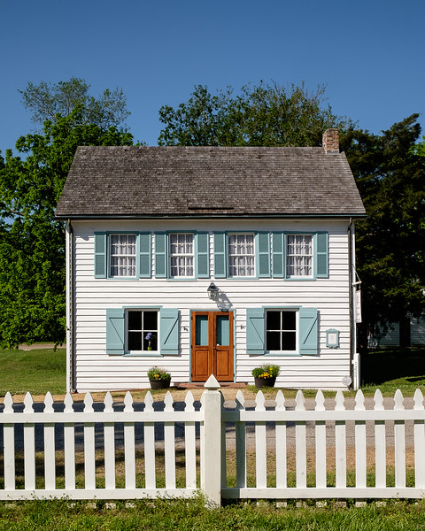 Colonial Home and White Picket Fence Full Symmetry