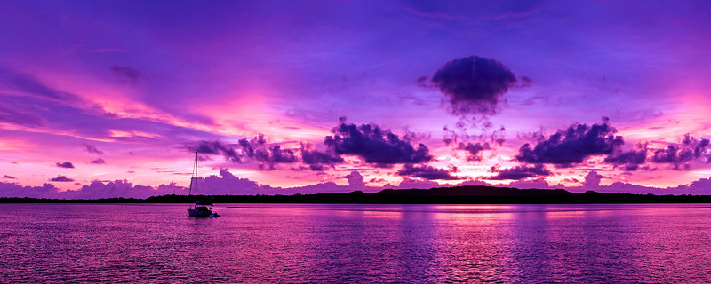 A Panoramic cloudy nautical Sunrise Seascape. Australia.