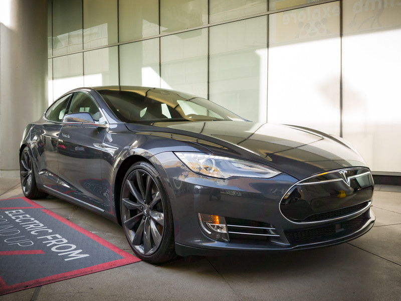 The original Model S greets mallgoers on the main walkway
