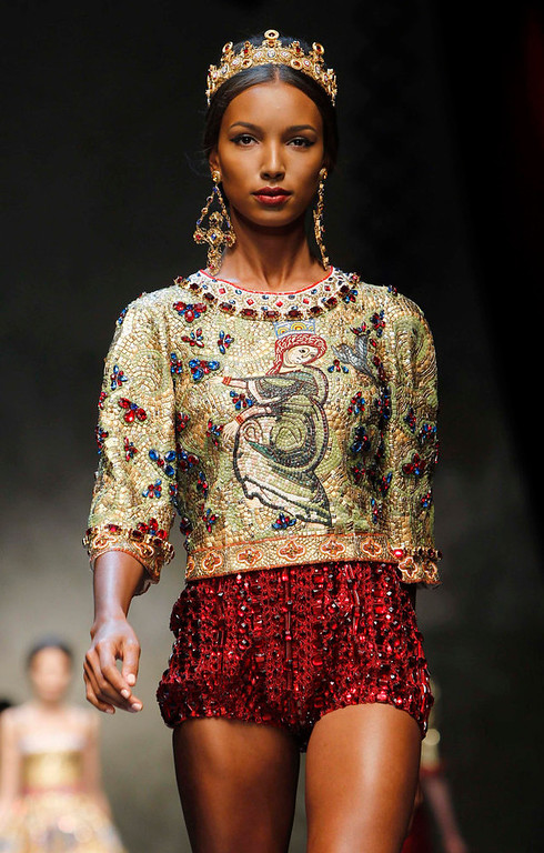 . A model displays a creation from Dolce & Gabbana\'s Autumn/Winter 2013 collection at Milan Fashion Week February 24, 2013.  REUTERS/Alessandro Garofalo