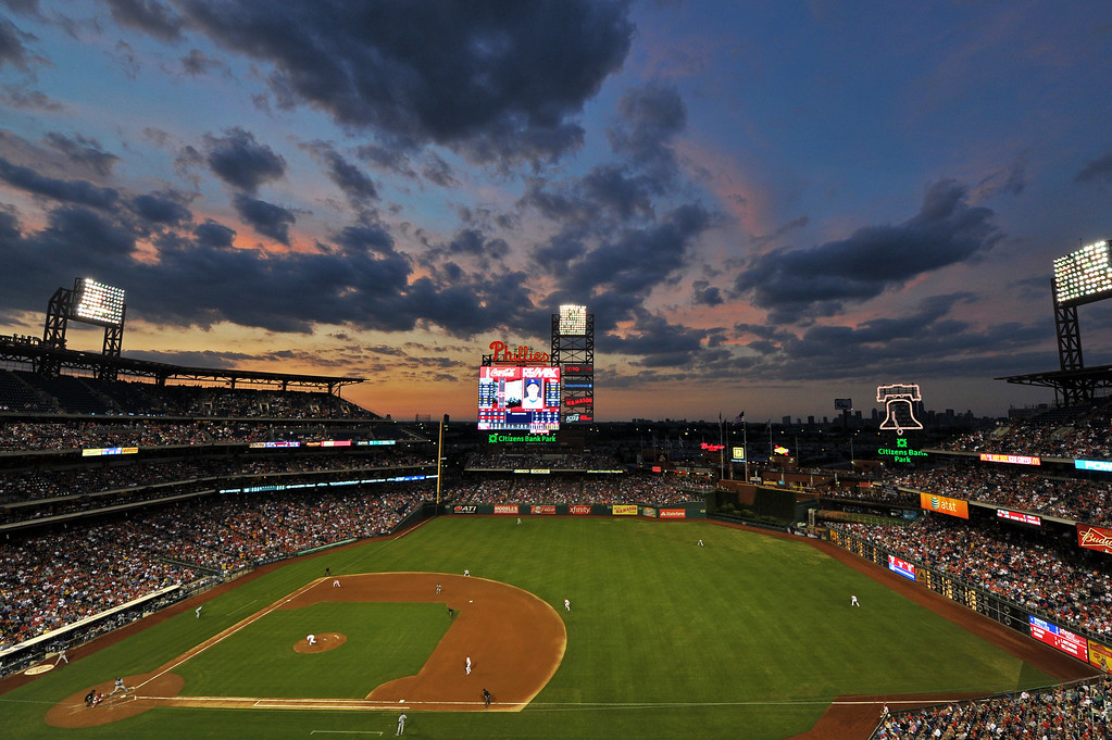 . PHILADELPHIA, PA - AUGUST 16: A general view of Citizens Bank Park during the game between the Los Angeles Dodgers and Philadelphia Phillies on August 16, 2013 in Philadelphia, Pennsylvania. (Photo by Drew Hallowell/Getty Images)