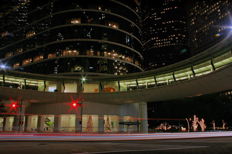 The 360 degree circular elevated walkway at Allen Center, Houston, Dec 16, 2009. The next photo in this Gallery was taken about where the Christmas trees are, looking back this way, about 6 weeks later.