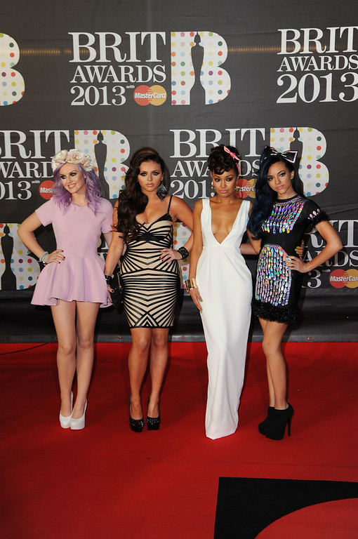 . Perrie Edwards, Jesy Nelson, Leigh-Anne Pinnock and Jade Thirwall of Little Mix attend the Brit Awards 2013 at the 02 Arena on February 20, 2013 in London, England.  (Photo by Eamonn McCormack/Getty Images)