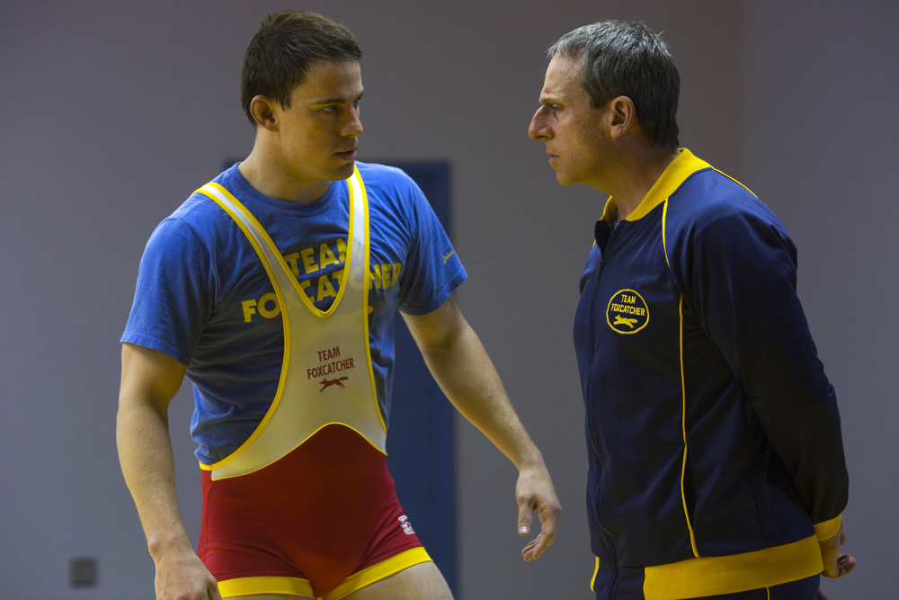 ". This image released by Cannes Film Festival shows Steve Carell, right, and Channing Tatum in a scene from ""Foxcatcher.\"" (AP Photo/Cannes Film Festival)"