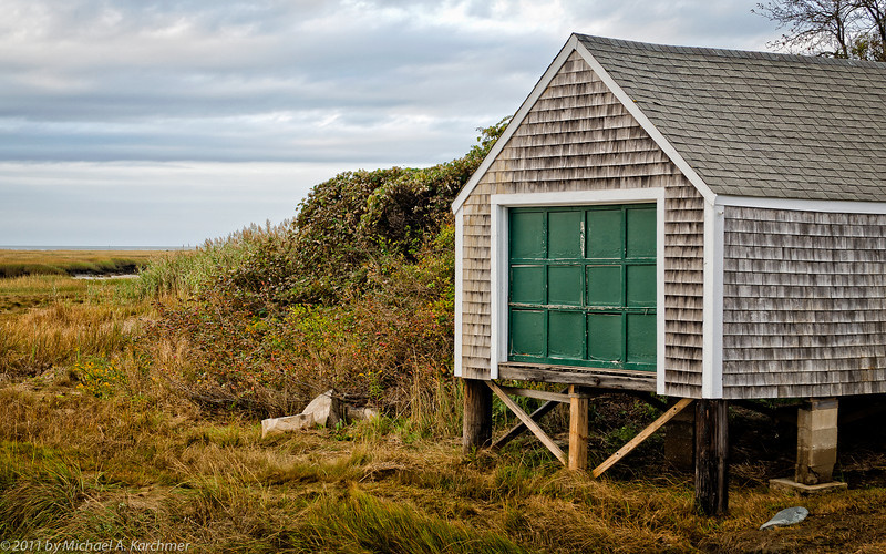 Boathouse near Mill Pond at Low Tide, Cape Cod Bay, 2011 [Michael A. Karchmer]