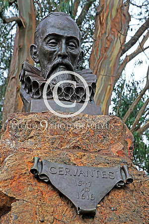 "Miguel de Cervantes Saavedra Statuary Pictures [1547-1616]: Spanish author of ""Donn Quixote"""