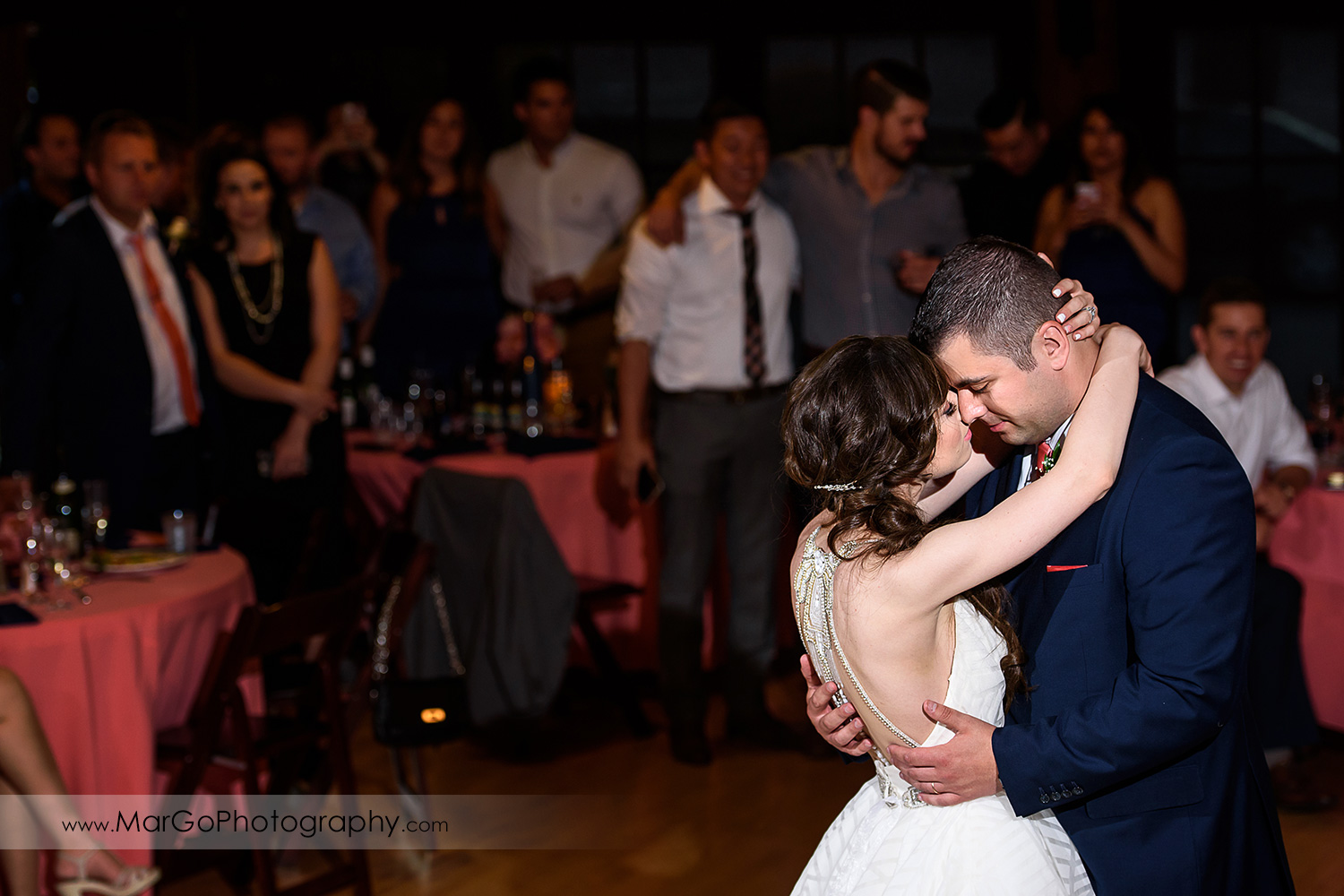 first dance of bride and groom during wedding reception at Saratoga Foothill Club