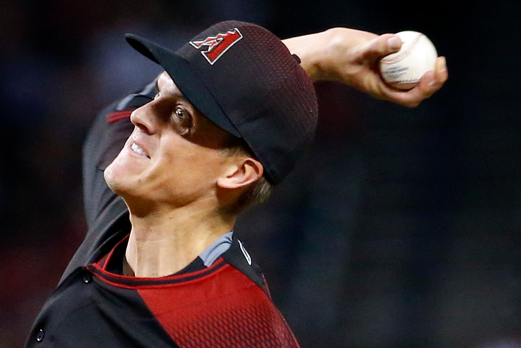 . Arizona Diamondbacks starting pitcher Zack Greinke throws against the Colorado Rockies during the first inning of a baseball game, Saturday, April 30, 2016, in Phoenix. (AP Photo/Matt York)