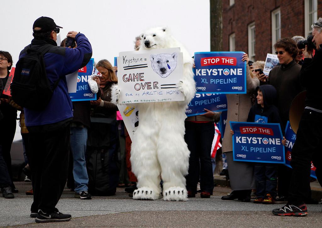 . A person wearing a bear costume is photographed at the intersection of Pacific Avenue and Baker Street protesting the plan to build a pipeline from Canada to Texas, called the Keystone XL pipeline, in Pacific Heights in San Francisco, Calif., on Wednesday, April 3, 2013.  (Nhat V. Meyer/Staff)