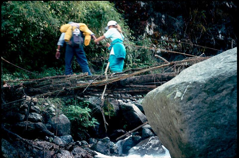 Sardar Sherpa leader Norbu helps Alissa across bridge