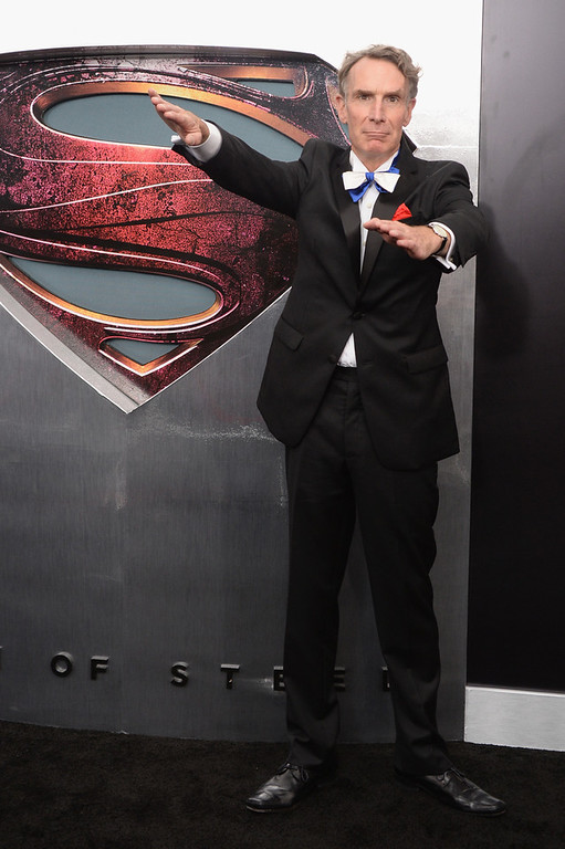 ". Scientist Bill Nye attends the ""Man Of Steel\"" world premiere at Alice Tully Hall at Lincoln Center on June 10, 2013 in New York City.  (Photo by Andrew H. Walker/Getty Images)"