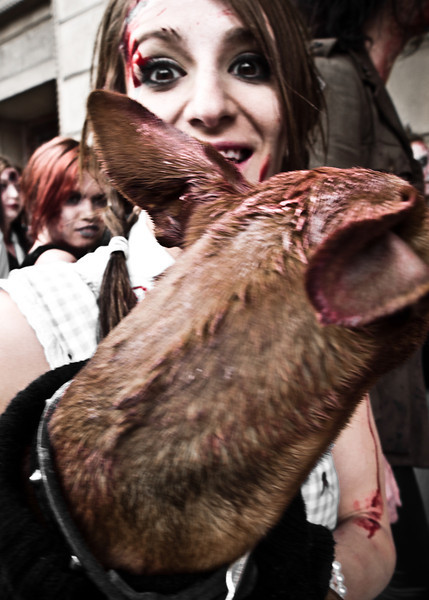 Female zombie with her pet