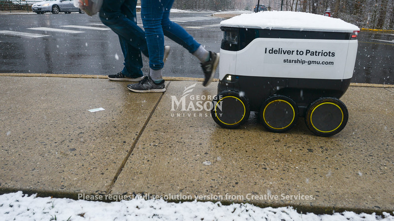 Robots in the snow at Fairfax campus. Photo by Evan Cantwell/Creative Services/George Mason Universitty