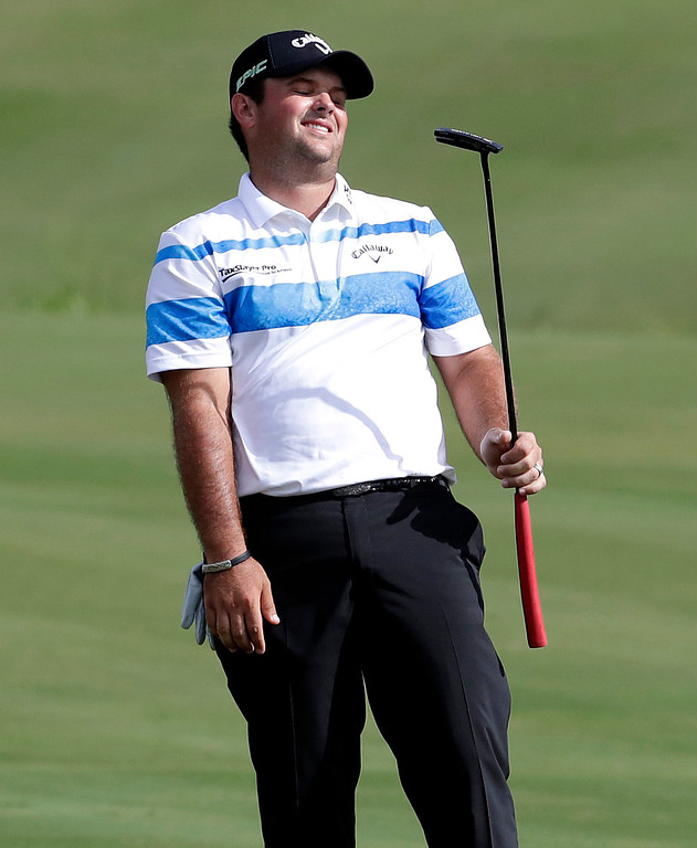 . Patrick Reed reacts to a missed putt on the 18th green during the third round of the Tournament of Champions golf event, Saturday, Jan. 7, 2017, at Kapalua Plantation Course in Kapalua, Hawaii. (AP Photo/Matt York)