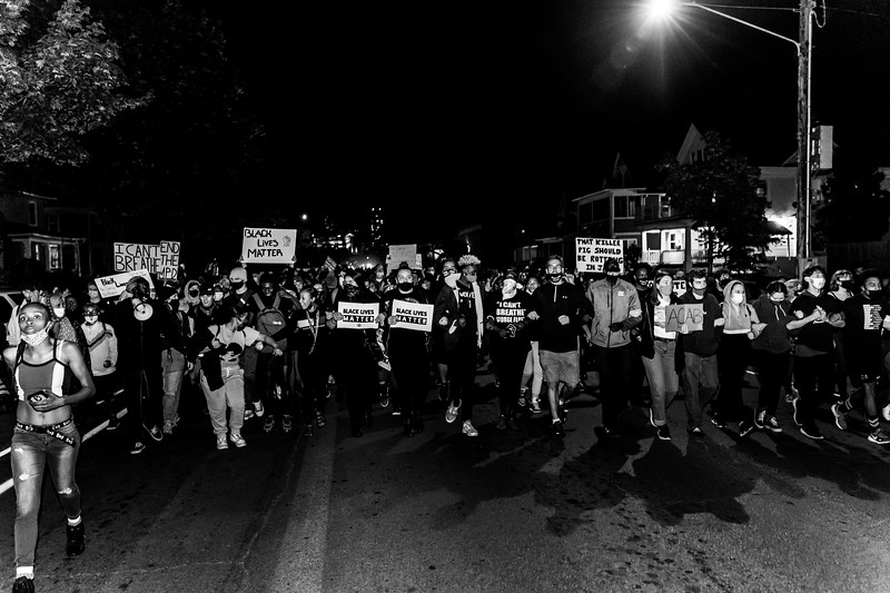 2020 10 07 Chauvin out of jail protest - BW-35.jpg