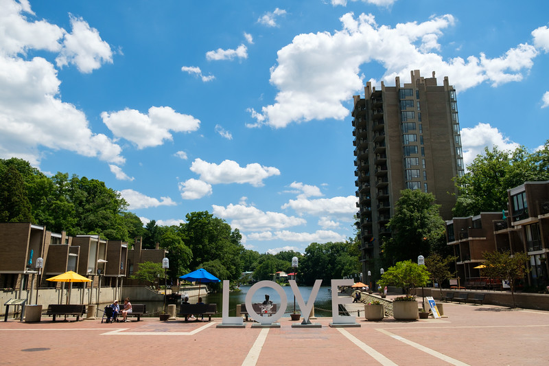 Virginia Is for Lovers sign at Lake Anne Plaza