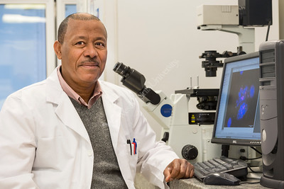 Dr. Yehenew Agazie, Associate Professor Biochemistry  In Lab April  2018. Photo