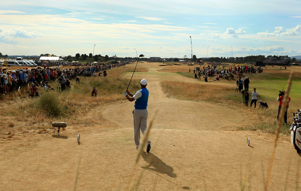 . Tiger Woods of the US plays off the 6th tee during the first round of the British Open Golf Championship in Carnoustie, Scotland, Thursday July 19, 2018. (AP Photo/Jon Super)