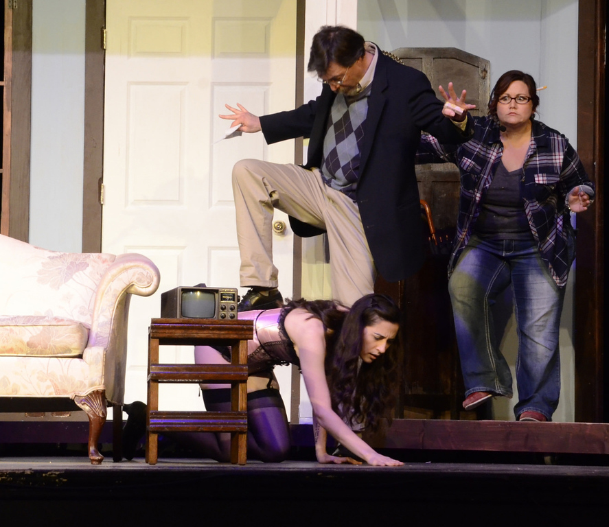 """. Cast members of the Geauga Lyric Theater Guild production of \""""Noises Off\"""" perform a scene. The show continues through March 18. For more information, visit geaugatheater.org. (Submitted)"""