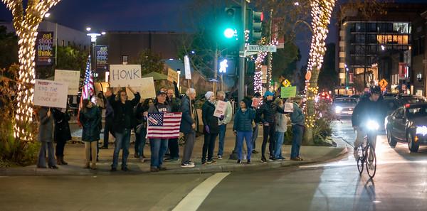 Feb 05 Rally against Trump's Acquittal:  Palo Alto Lytton Plaza