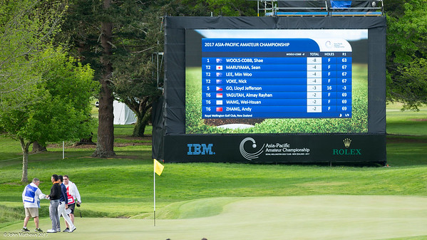 Leaderboard (page 1) at 6.00pm on the 1st day of competition in the Asia-Pacific Amateur Championship tournament 2017 held at Royal Wellington Golf Club, in Heretaunga, Upper Hutt, New Zealand from 26 - 29 October 2017. Copyright John Mathews 2017.   www.megasportmedia.co.nz