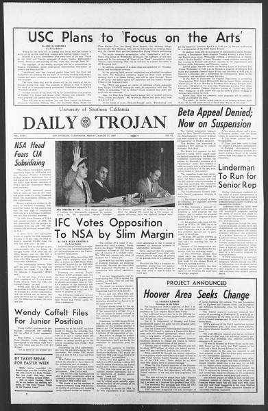 Daily Trojan, Vol. 58, No. 92, March 17, 1967