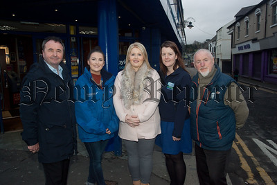 Naomi Bailie is pictured with Pat McGinn and Lawrence Mccabe who will take part in the London Marathon 2016 to raise funds for the Southern Area Hospice. They recieved a donation from Boylesports pictured with the guys is Aoife Heffron and Anne MacOscar. R1549011