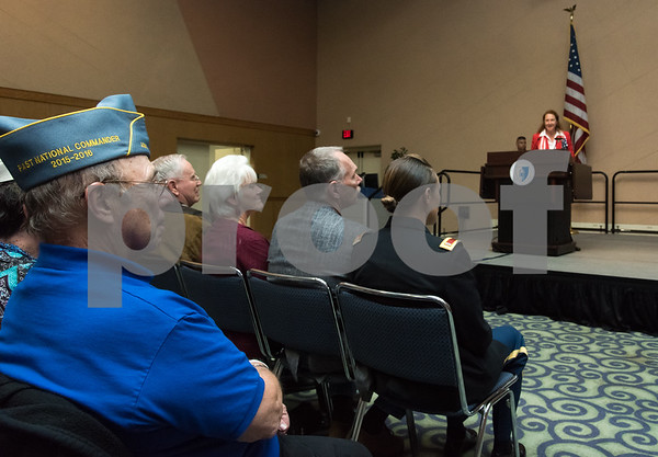 11/09/17 Wesley Bunnell | Staff CCSU held a Veterans Day Observance Ceremony on Friday afternoon in Alumni Hall. Audience members listen at Congresswoman Elizabeth Esty speaks.