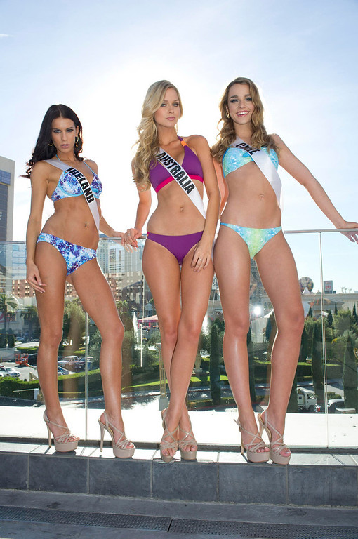 . (From L to R) Miss Ireland Adrienne Murphy, Miss Australia Renae Ayris, and Miss Chile Ana Luisa Konig pose for photos in Las Vegas, Nevada December 7, 2012. The Miss Universe 2012 competition will be held on December 19. REUTERS/ Darren Decker/Miss Universe Organization L.P/Handout