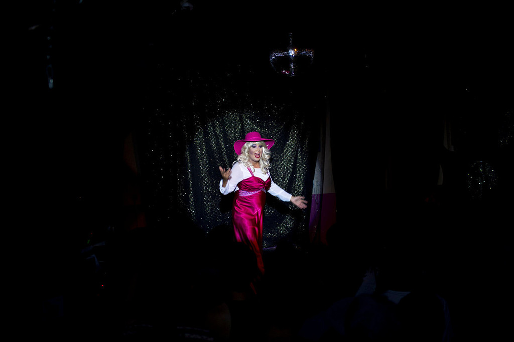 . Israeli Orthodox Jew Shahar Hadar, performs his drag queen show at a gay club in Jerusalem on Monday, July 29, 2013. Hadar, a telemarketer by day, has taken the gay Orthodox struggle from the synagogue to the stage, beginning to perform as one of Israel\'s few religious drag queens. His drag persona is that of a rebbetzin, a female rabbinic advisor, a wholesome guise that stands out among the sarcastic and raunchy cast of characters on Israel\'s drag queen circuit. (AP Photo/Oded Balilty)