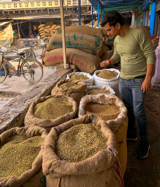 The spice market in Old Delhi, trades almost half of the world's spices.