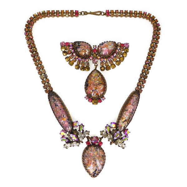 Vintage Mid Century Austrian Pink & Gold Paste Glass Necklace & Brooch Set