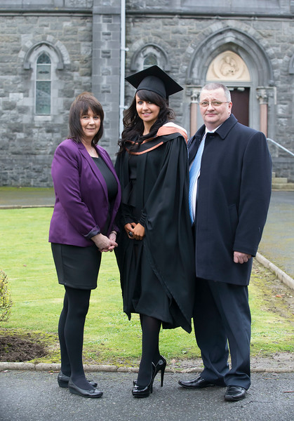 Pictured is Sarah Frisby from Clonmel who graduated in Bachelor of Business (Honours), also in photo are her parents Caroline and Pat Frisby. Picture: Patrick Browne