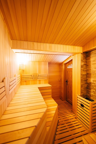 The interior of the classic wooden sauna