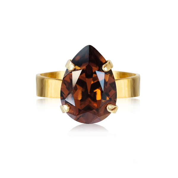 Mini Drop Ring / Smoked Topaz Gold