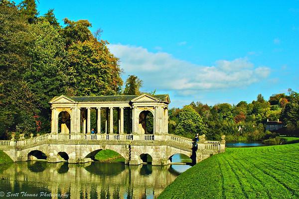18th-century Palladian Bridge in Prior Park at Bath, England, United Kingdom.