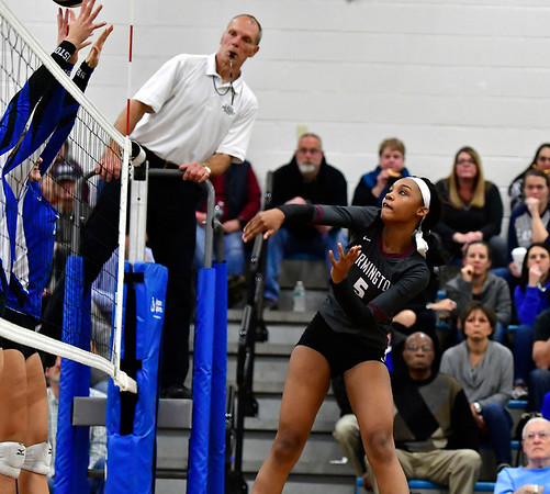11/8/2018 Mike Orazzi | Staff Farmington High School's Chardae Saunders (5) during the Class L Second Round State Girls Volleyball Tournament in Bristol Thursday night.