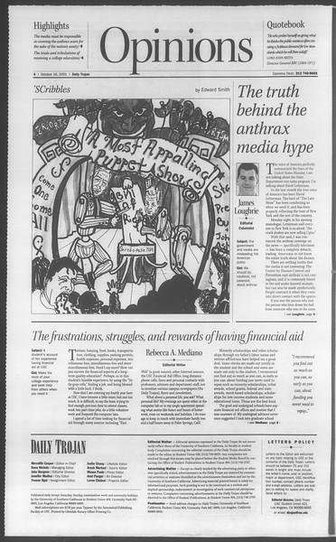 Daily Trojan, Vol. 144, No. 36, October 18, 2001