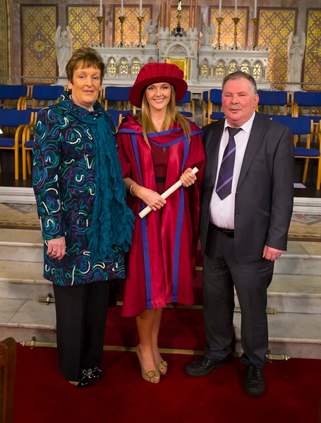 Waterford Institute Of Technology Conferring. Pictured at WIT Waterford Institute Of Technology Conferring is Geraldine Cleere, Waterford who was conferred a Doctor of Philosophy, also is pictured is John and Mary Cleere.  Picture: Patrick Browne