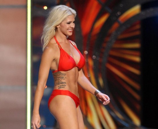 ". <p><b> Miss Kansas, Theresa Vail, caused a stir at the Miss America pageant by openly displaying this during the swimsuit competition � </b> <p> A. Her �Serenity Prayer� tattoo  <p> B. Her surgical scar  <p> C. Her Adam�s apple <p><b><a href=\'http://www.usatoday.com/story/life/people/2013/09/13/miss-america-contestant-shows-her-tattoos/2808757/\' target=""_blank\"">HUH?</a></b> <p>    (AP Photo/The Press of Atlantic City, Edward Lea)"