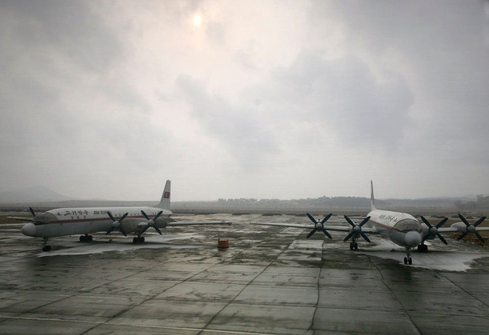 . Two Air Koryo airplanes rest on the tarmac of Pyongyang airport in Pyongyang, North Korea on Feb. 25, 2008. Air Koryo jets once traversed the skies of the Eurasian landmass, linking communist North Korea with airports in Cold War capitals as far afield as Moscow, Prague and the former East Berlin. Nowadays, the aging Russian-built craft of the rickety state airline mostly ply routes close to home, with flights beyond nearby Chinese cities and Russia\'s Far East extremely rare.  (AP Photo/David Guttenfelder)