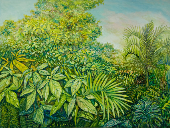"""©John Rachell  Title: The Garden, April 19, 2007 Image Size: 48"""" w by 36"""" d Dated: 2007 Medium and Support: Oil paint on canvas Signed: LR Signature"""