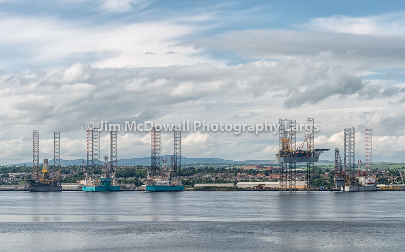 Offshore drilling platform in repair in shipyards in Dundee