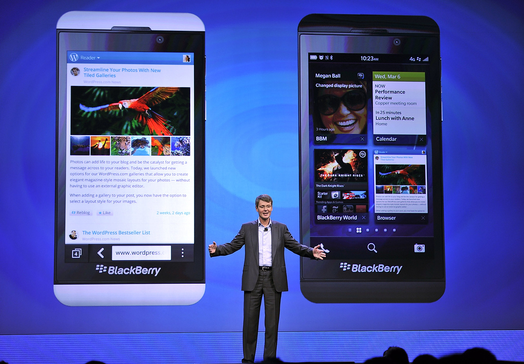 . Blackberry, formerly Research in Motion CEO Thorsten Heins, as officially unveils the BlackBerry 10 mobile platform as well as two new devices January 30, 2013 at the New York City Launch at Pier 36. (TIMOTHY A. CLARY/AFP/Getty Images)