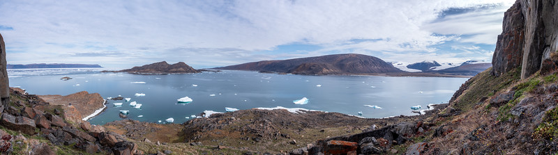 Skraeling Isalnd and Twin Glaciers from Sphinx with Buchanan Bay in the Background