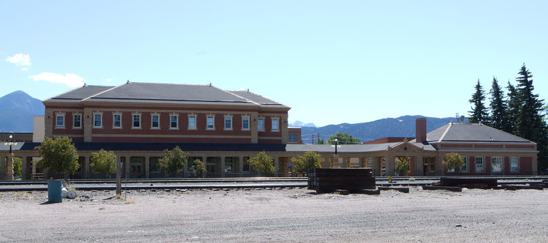The train depot from the other side of the tracks.