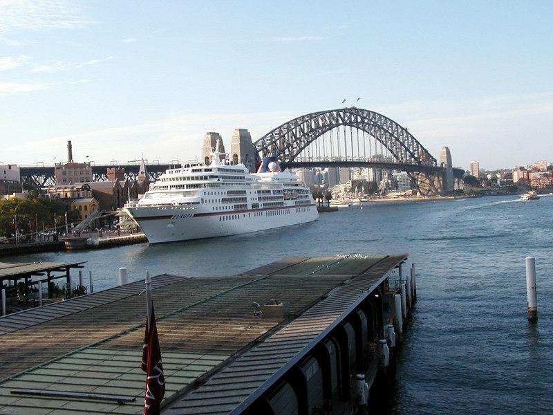 Sydney Bridge and Europa Cruise Ship