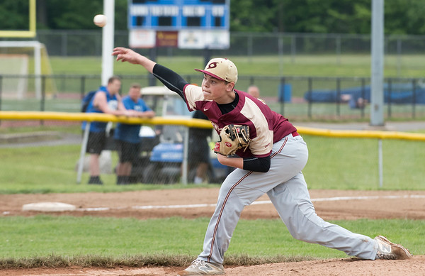 05/29/19 Wesley Bunnell | Staff Southington defeated New Britain 4-3 in 11 innings on a walk off single by Billy Carr (17) in the continuation of a game suspended in the 10th inning due to rain on May 29th. Pitcher Christopher Gibbs (12).