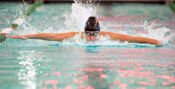 09/18/18 Wesley Bunnell | Staff Berlin girls swimming defeated Maloney High School 92-83 on Tuesday afternoon at Maloney High School. Kelly Chmielewski finished first place in the 100 fly.